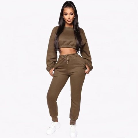 Two Piece Sets Women Tracksuit Crop Top