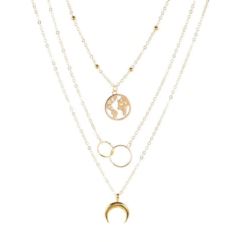 Retro Moon World Map Circle Pendant Multilayer