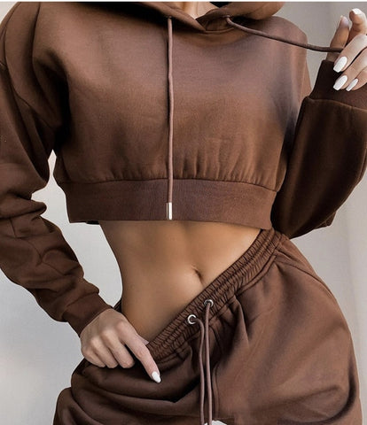 Knitted Crop Top Tracksuit