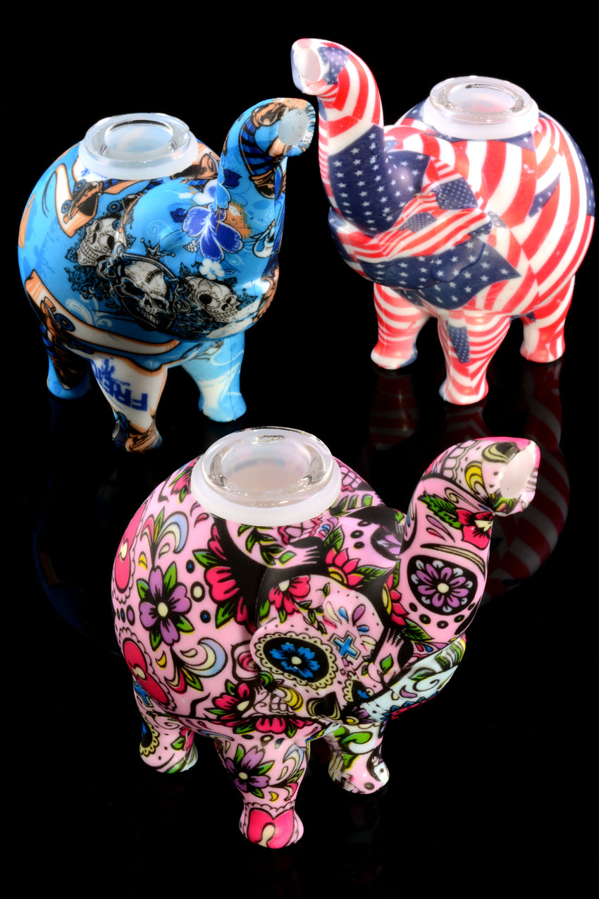 Decal Print Silicone Elephant Bubbler - AP264