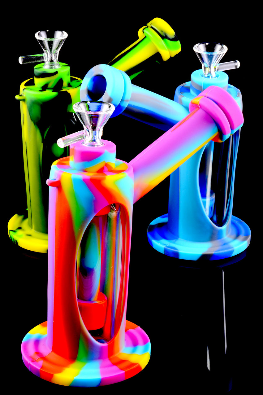 Colorful GoG Silicone Hammer Bubbler with Glass Chamber - B1034