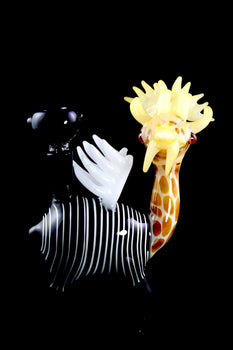 Flying Giraffe Glass Bubbler - B1077