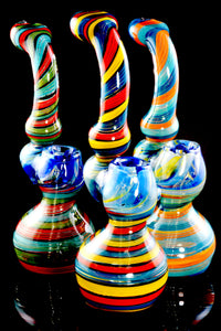 Large Color Changing Spiral Stripe Sherlock Glass Bubbler - B1120