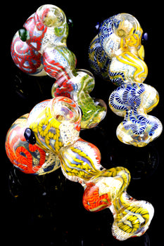 Thick Color Changing Striped Glass Hammer Bubbler - B1122