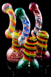 Large Rasta Striped Color Changing Glass Sherlock Bubbler - B1166