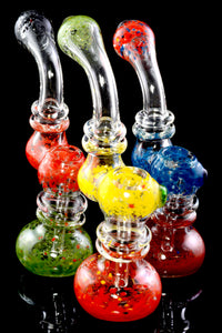 Medium Clear Glass Multicolor Frit Sherlock Bubbler - B1178