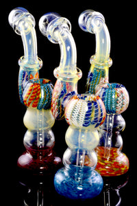 Large Frit Color Changing Striped Glass Sherlock Bubbler - B1180