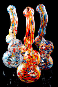 Small Confetti Frit Rasta Stripe Glass Sherlock Bubbler - B1198