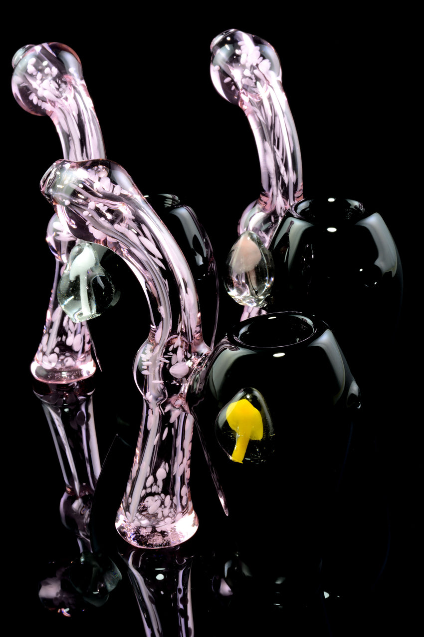 Mini Colored Double Chamber Sherlock Bubbler - B1201