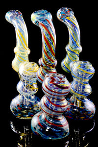 Medium Color Changing Spiral Striped Frit Sherlock Bubbler - B1203