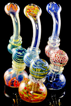 Medium Striped Color Changing Glass Sherlock Bubbler - B1204