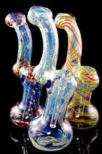(Mix) Medium Color Changing Stripe Glass Sherlock Bubbler - B1206