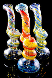 Medium Color Changing Spiral Striped Frit Glass Sherlock Bubbler - B1209