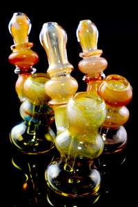 Unique Mini Gold Fumed Sherlock Glass Bubbler - B1219