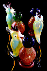 Color Changing Double Chamber Glass Sherlock Woodpecker Bubbler - B1226