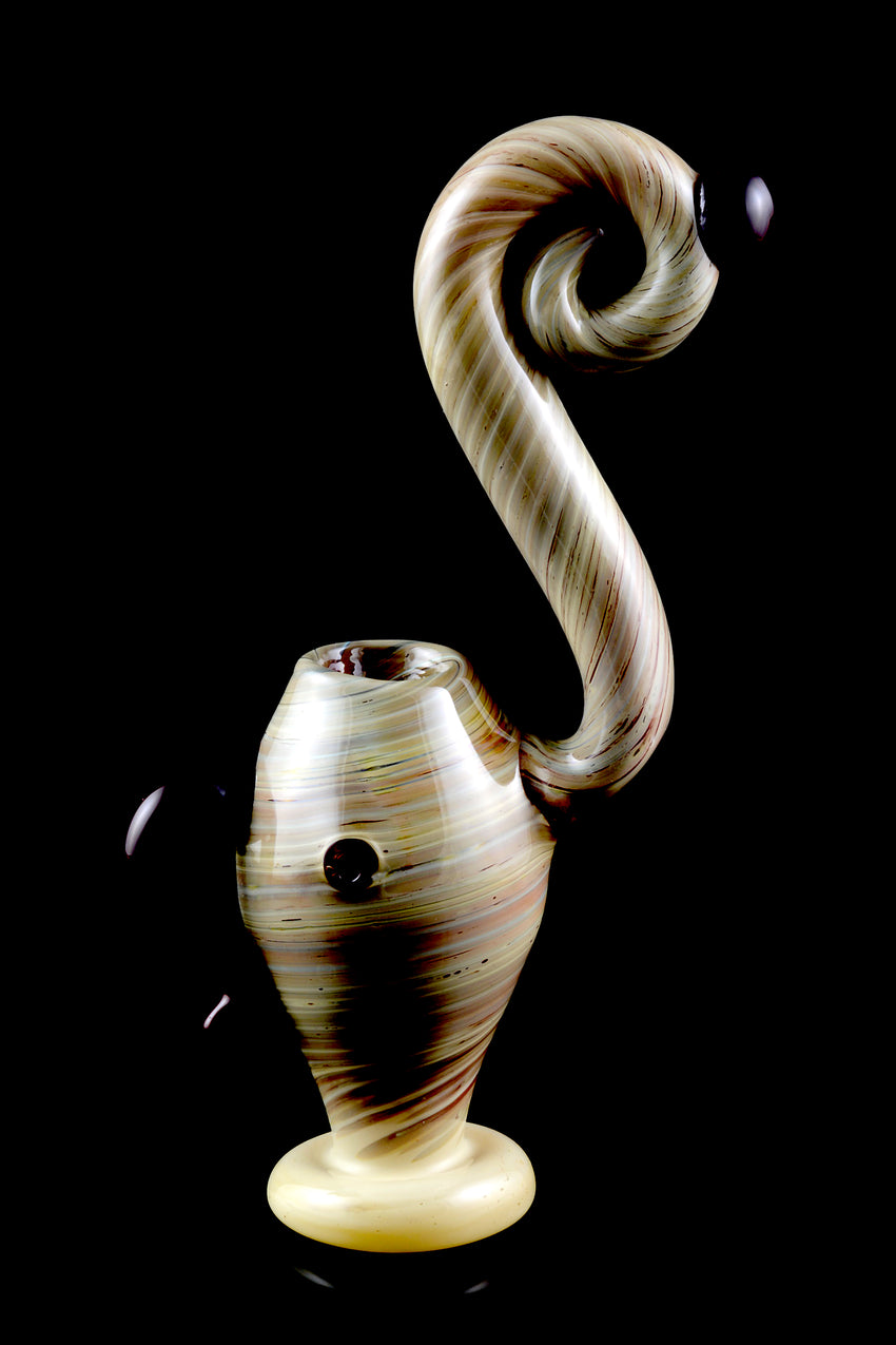 Large Swirl Reverse Sherlock Glass Bubbler - B0973