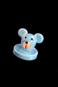 Glass Baby Blue Bear Carb Cap - BS616