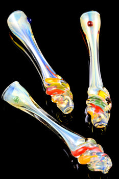 Large Color Changing Twisted Rasta Chillum - C0238