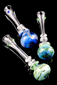 Large Silver Fumed Glass Chillum - C0239
