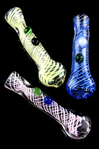 Colorful Spiral Glass Chillum - C0241