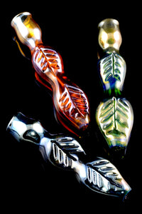 Metallic Leaf Glass Chillum - C0244