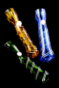 Colored Spiral Striped Glass Chillum - C0267