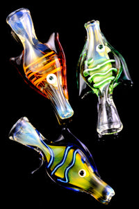 Color Changing Glass Striped Fish Chillum - C0278