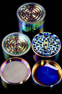 63mm 4 Part Rainbow Zinc Alloy Maze Grinder - G0287