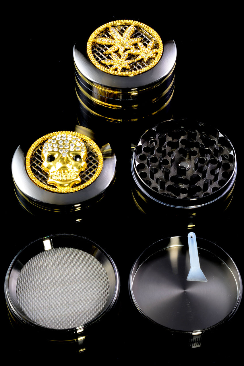 63mm Zinc Alloy 4 Part Rhinestone Design Grinder - G0348