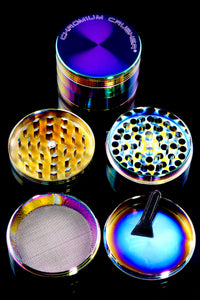 58mm 4 Part Chromium Crusher Rainbow Zinc Alloy Grinder - G0353