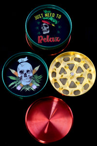 52mm 3 Part Rasta Skull Aluminum Grinder - G0355