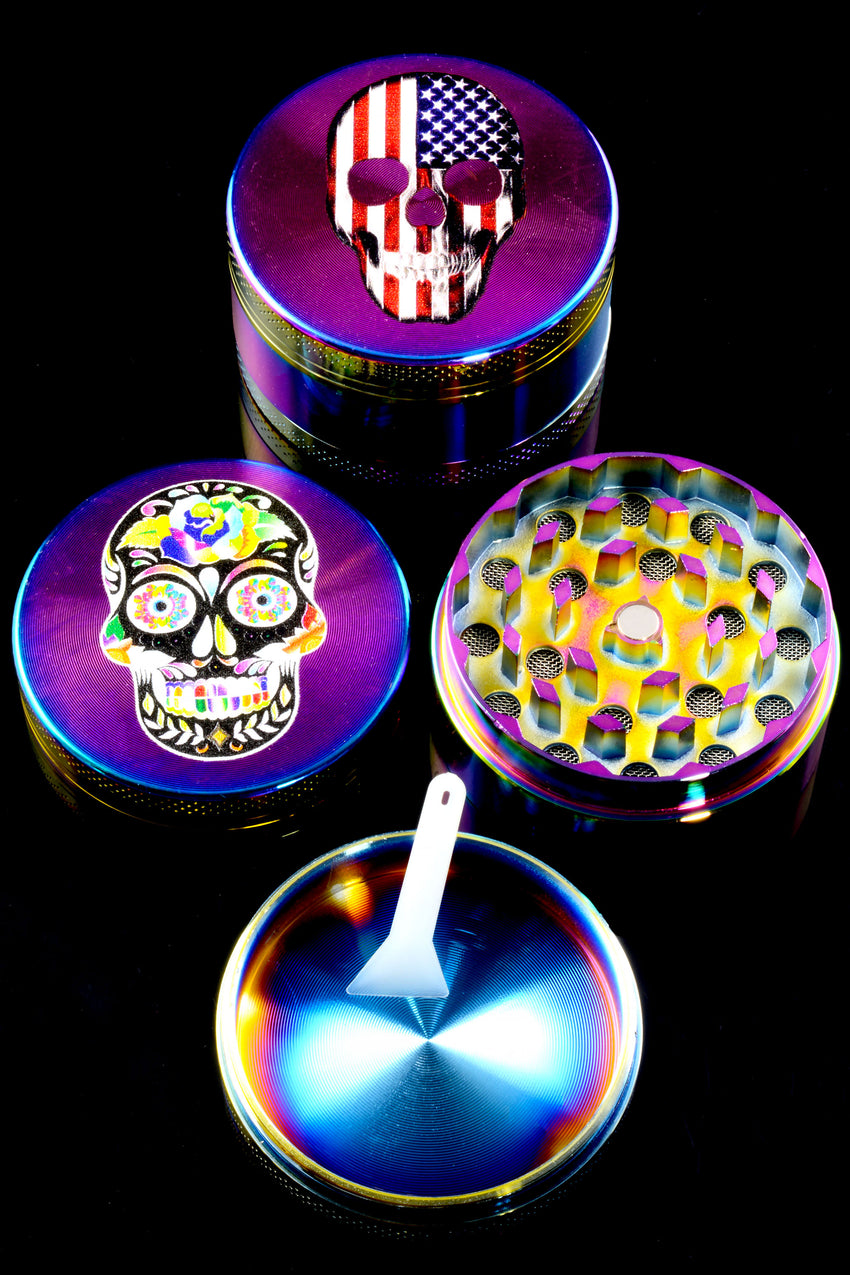 50mm 3 Part Rainbow Zinc Alloy Skull Decal Grinder - G0383