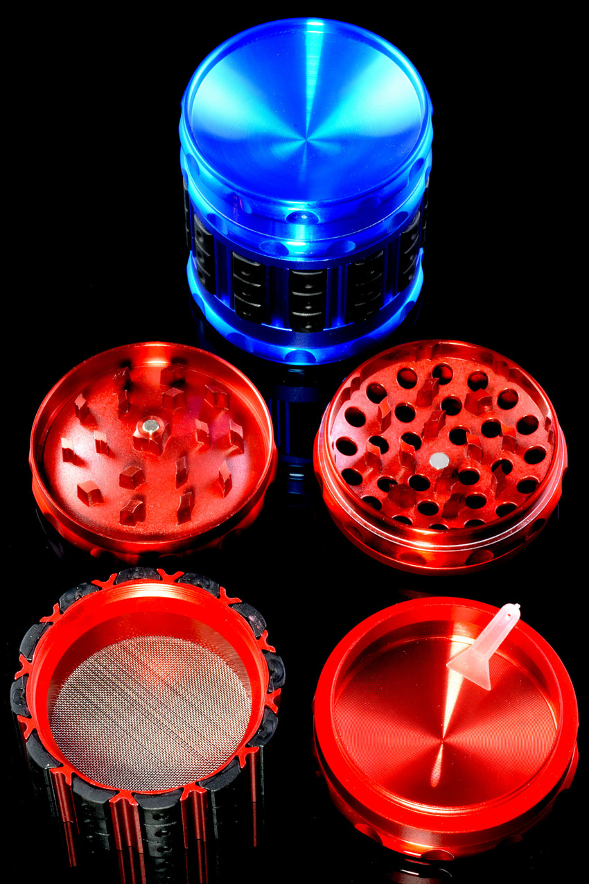 63mm Colored Aluminum 4 Part Grinder with Grips - G0402