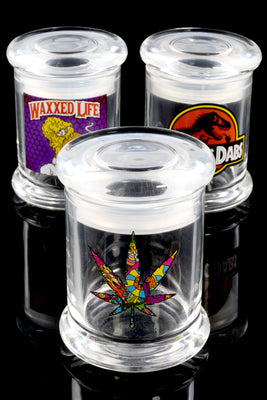 (Mix) Small Glass Jar with Decal - J0184