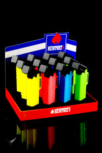 12 Pc Large Neon Newport Torch Gun Lighter Display - L0180