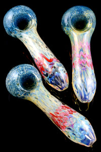 Thick Silver Fumed Frit Striped Glass Pipe - P1656