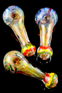 Thick Gold Fumed Rasta Striped Glass Pipe - P1670