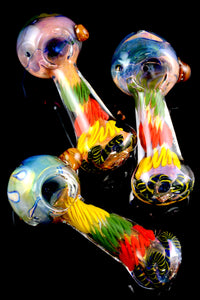 Thick Gold Fumed Color Changing Rasta Glass Pipe - P1672