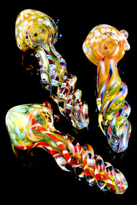 Gold Fumed Twisted Striped Glass Bubble Pipe - P1724