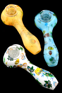 Silicone R&M Hand Pipe with Glass Bowl - P1745