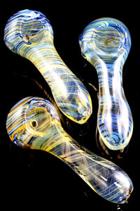 Small Color Changing Spiral Stripe Glass Pipe - P1870