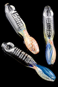 Color Changing Striped Clear Glass Pipe - P1894