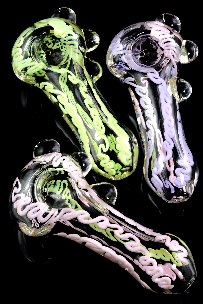 Extra Thick Clear Neon Striped Glass Pipe - P1896
