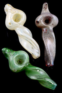 Thick Twisted Donut Hole Frit Glass Pipe - P1906