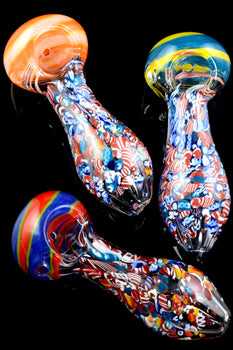 Thick Multicolor Swirl Stripe Confetti Glass Pipe - P1961