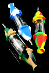 Colorful Silicone/Glass Nectar Straw with Tree Perc - P1974