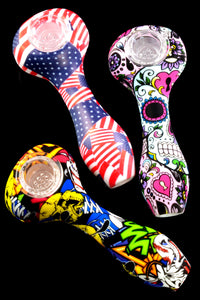 Silicone Decal Hand Pipe with Glass Bowl - P2052