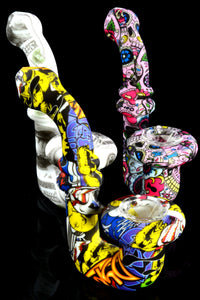 Decal Print Silicone Sherlock Hand Pipe with Glass Bowl - P2114