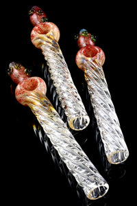 Large Color Changing Silver Fumed Twisted Glass Steam Roller - P2148