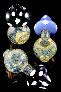 Small Color Changing Spiral Striped Mushroom Glass Pipe - P2159